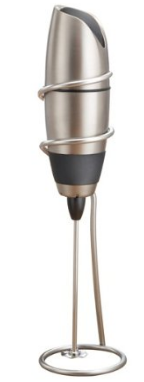 BonJour Battery-Powered Cafe Latte Frother with Stand, Chrome/Black
